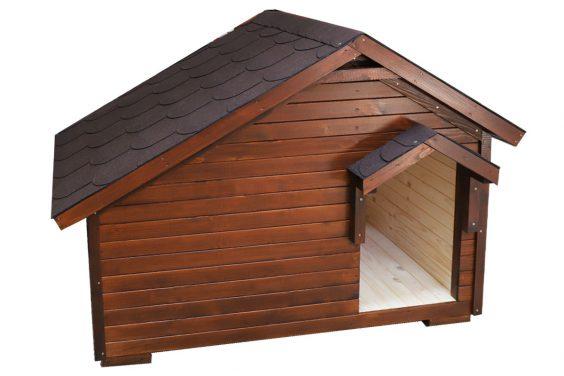 Zateplená búda pre psa ATOS v odtieni ORECH. Strecha je pre ochranu pred poveternostnými vplyvmi pokrytá hnedým šindľom v tvare bobrovka